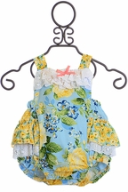 Haute Baby Penelope Romper in Blue and Yellow (18Mos & 2T)