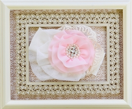 Haute Baby Pink Rose Lace Headband (Sizes Toddler)