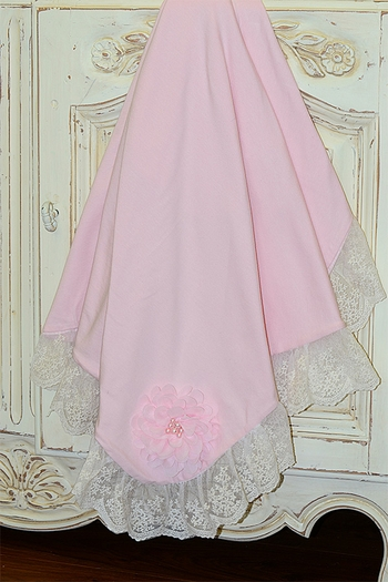 Haute Baby Pink Baby Blanket with Ivory Lace SOLD OUT