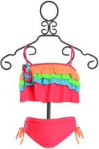 Isobella and Chloe Bikini for Girls Poppy Pink (Size 4)