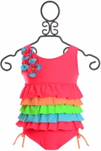 Isobella and Chloe One Piece Ruffled Swimsuit (Size 5)