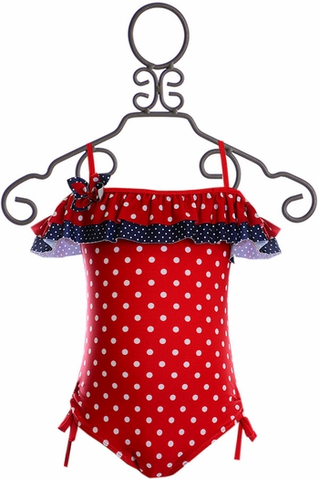 Isobella and Chloe Red White and Blue Swimsuit (Size 5)