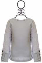 Jak and Peppar Girls High End Top in Gray (Size 12Mos)