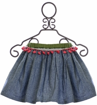 Jak and Peppar Girls Light Blue Skirt with Pom Poms (NB & 6Mos)