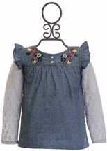 Jak and Peppar Girls Top with Lace Sleeves (NB,3Mos,12Mos,18Mos)