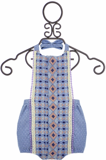 Jak and Peppar Izzy Romper in Chambray (3Mos & 24Mos)