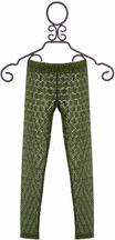 Jak and Peppar Lace Longies for Girls in Olive Green (Size 6X)
