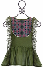 Jak and Peppar Maya Tunic for Girls in Olive Green (NB,3Mos,6Mos)