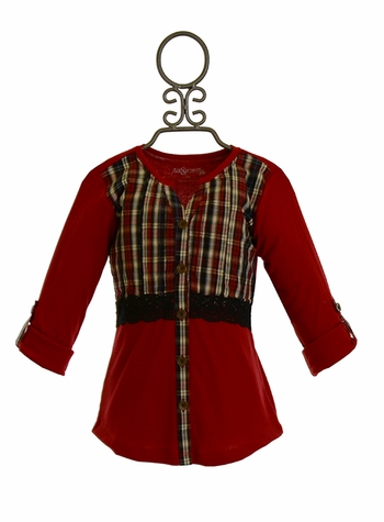 Jak and Peppar Red Plaid Top (Size 2T)