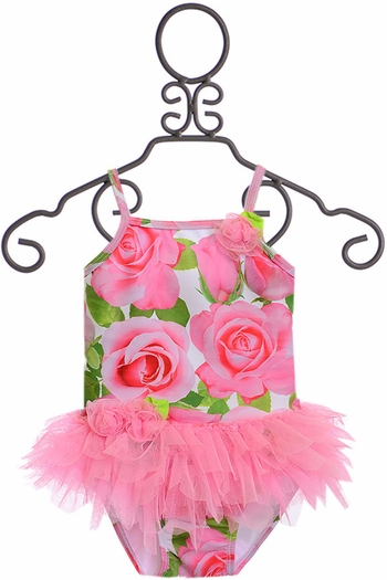 Kate Mack Pink Rose Tutu Swimsuit (Size 3Mos)