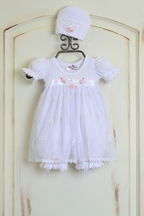Katie Rose Ashley Girls Bloomer Dress in White (Size 9Mos)