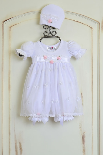 Katie Rose Ashley Girls Bloomer Dress in White (6Mos & 9Mos)