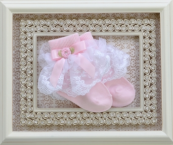 Katie Rose Baby Ruffle Socks in Pink and White