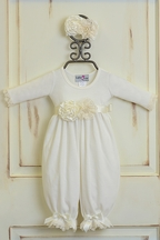 Katie Rose Cream Infant Romper with Headband (9 Mos & 12Mos)