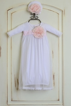 Katie Rose Fancy Layette Gown in White with Hat (Size 6Mos)