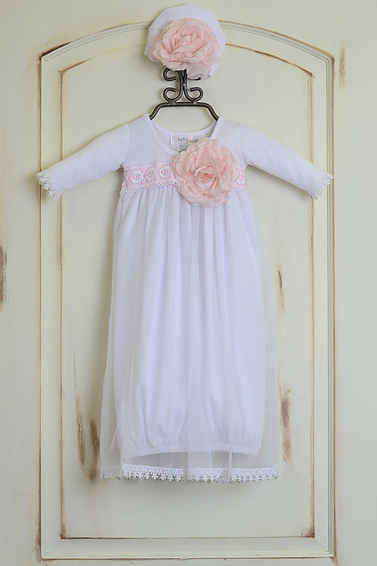 Girls Katie Rose Fancy Layette Gown with Hat Get it On Sale