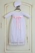 Katie Rose Fancy Layette Gown in White with Hat (NB & 6Mos) Alternate View