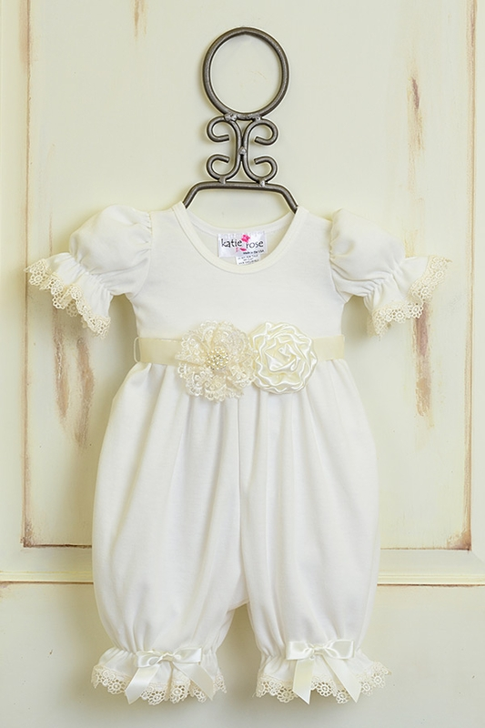 70db7275162 Girls Katie Rose Vintage Lace Romper Ivory