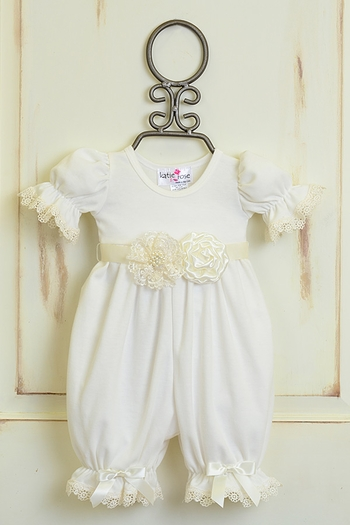 Katie Rose Girls Vintage Lace Romper Ivory (Size 9Mos)