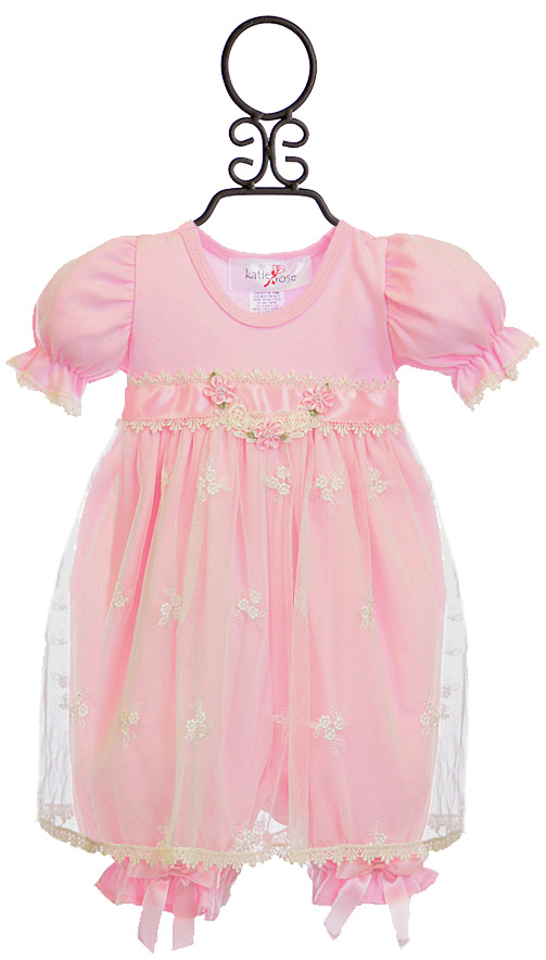 Katie Rose Infant Bloomer Dress Ashley Pink Size 9mos