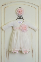 Katie Rose Infant Bloomer Dress in Ivory Abby (Size 9Mos)
