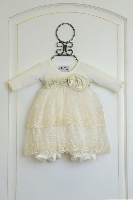 b1294979a8ef Girls Katie Rose Ivory Dress with Flowers