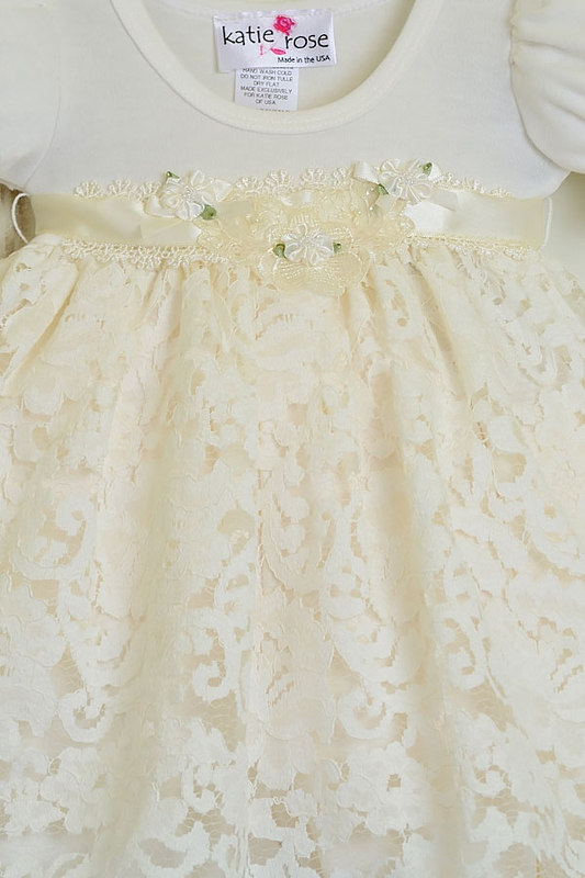 2a79ae443109 Girls Katie Rose Ivory Lace Baby Dress