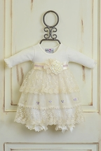 Katie Rose Lace Dress in Ivory and Lilac (Newborn & 9Mos)