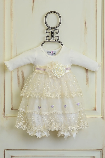 Katie Rose Lace Dress in Ivory and Lilac