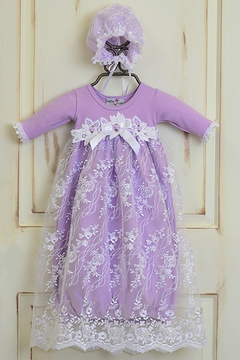 Katie Rose Lilac Lace Baby Gown with Bonnet