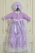 Katie Rose Lilac Lace Baby Gown with Bonnet Alternate View