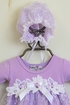 Katie Rose Lilac Lace Baby Gown with Bonnet (3Mos & 9Mos) Alternate View #2