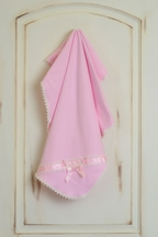 Katie Rose Pink Baby Blanket with White Lace Detail