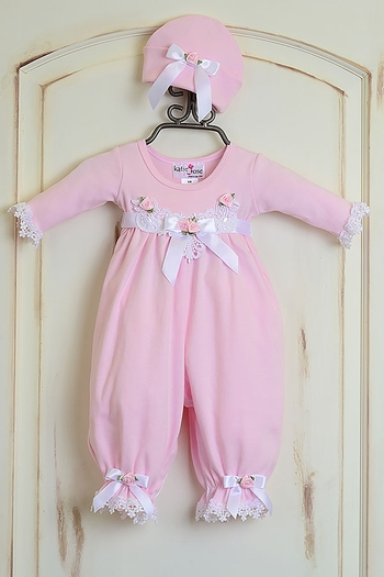 Katie Rose Pink Baby Girl Romper and Hat (Size 9Mos)