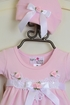 Katie Rose Pink Baby Girl Romper and Hat SOLD OUT Alternate View #2
