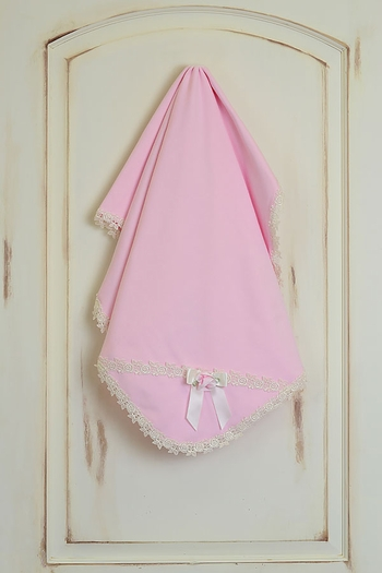 Katie Rose Pink Cotton Girls Blanket Ivory Trim SOLD OUT