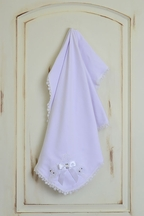 Katie Rose Pure White Baby Blanket with Lace