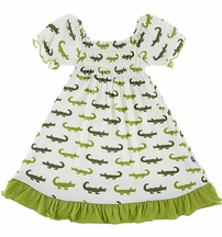 Kickee Pants Crocodile Dress for Girls (Size 4T)