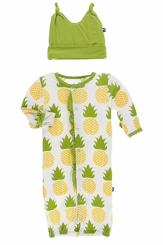 Kickee Pants Pineapple Converter Gown and Hat (Size Newborn)