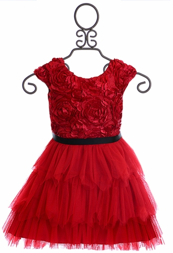 Le Pink Presley Dress for Girls Red Roses (Size 12Mos)