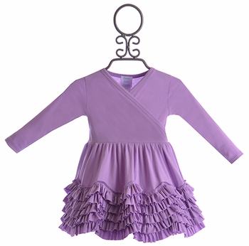Lemon Loves Lime Baby Ruffle Dress in Purple (Size 0-3Mos)