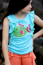 Lemon Loves Lime Parrot Fish Ruffled Tank (3,4,5,6)