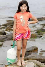 Lemon Loves Lime Seahorse Tee Coral (Size 3)