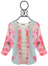 Little Mass Lace Up Floral Top (Size 4)