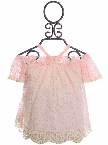 Little Mass Pink Top in Lace (Size 6)