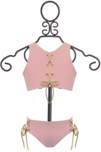 Lulita Lace up Girls Swimsuit Pink (Size 4)