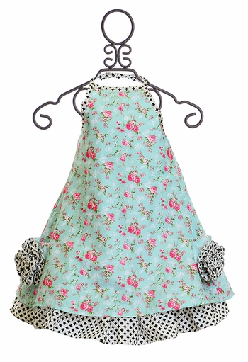 Mack & Co Blue Dress with Flowers (Size 8)