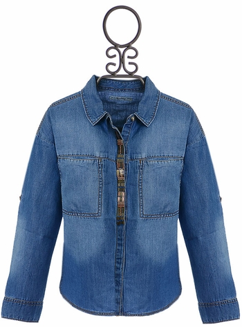 Mayoral Girls Denim Shirt with Beads (Size 12)