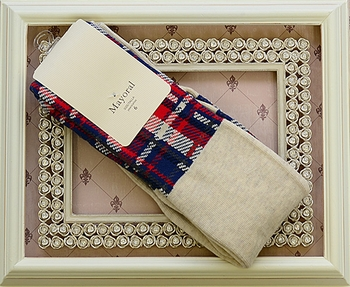 Mayoral Girls Tights in Red Plaid (Size 8)