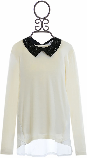 Mayoral Jeweled Collar Top for Tweens (Size 10)